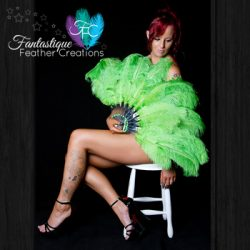 Green Burlesque Fan Made in Australia
