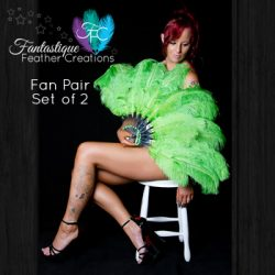 Green Burlesque Fan Pair Made in Australia