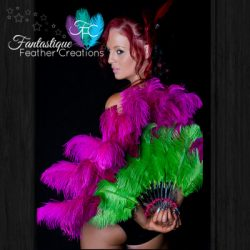 Pink & Green Burlesque Fan Made in Australia