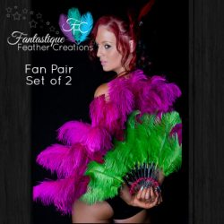 Pink & Green Burlesque Fan Pair Made in Australia