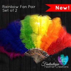 Rainbow Feather Fan Pair - Set of 2 | Australia