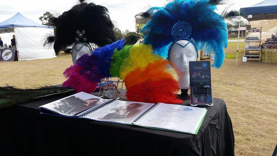 Rainbow Feather Fan Mardi Gras, Feather Headpieces